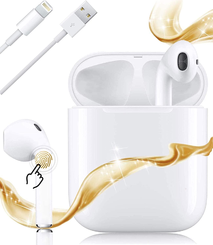 i12-Pro Bluetooth Headphones 5.0 Wireless Headphones with Charging Case (White)