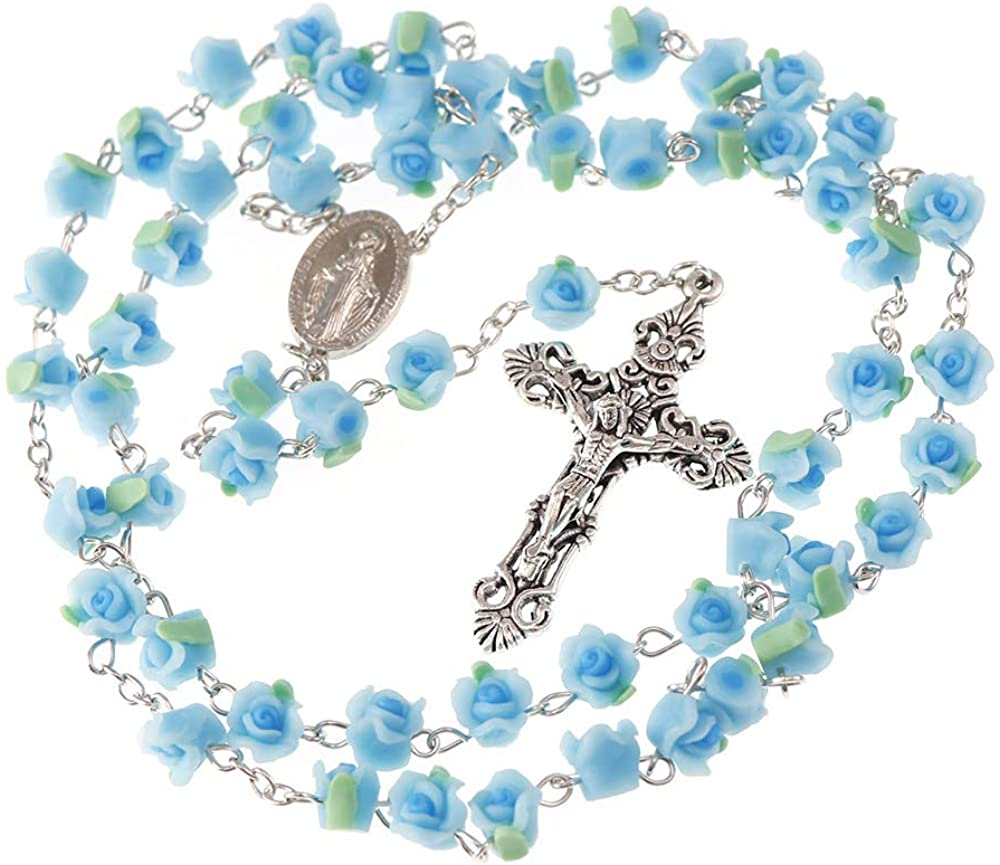 YWLI Rosary Beads Catholic, 6 Color, Confirmation Gifts for Teenage Girl, Polymer Clay Rose Necklace Jewelry, Silver Alloy Cross Necklace for Women, Gifts for Women
