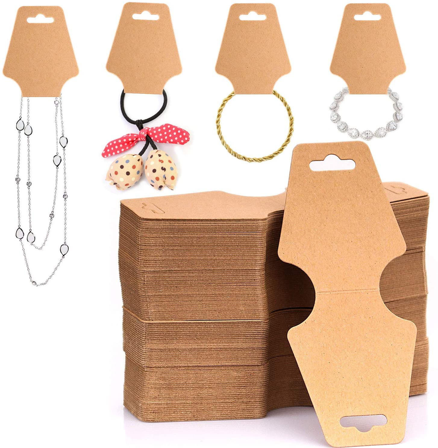 ZOENHOU 700 PCS 4.7 x 2 Inches Necklace Display Cards, Blank Jewelry Cards Holder, Bracelet Choker Hair Clip Accessories Kraft Cardboard Display Cards, Brown
