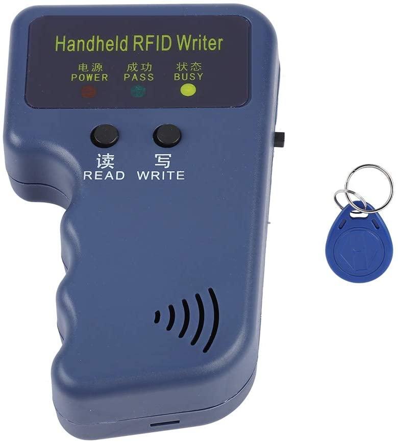 125KHz RFID Reader Writer, EM4100 Portable Handheld RFID ID Card Copier Reader/Writer Duplicator + Keyfob for Community, School, Office