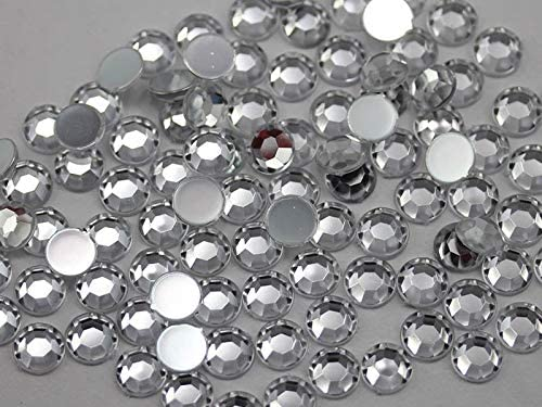 Allstarco 1000PCS 7mm SS34 Crystal Clear .AC Acrylic Flat Back Rhinestones for Jewelry Making and Face Painting Card Making Embelishments Plastic Gems