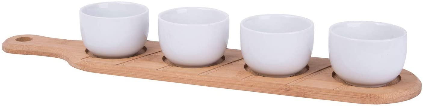 Home Essentials Tapas Serving Set - Long Bamboo Paddle Appetizer Tray with 4 Porcelain Bowls - Round White Ramekin Set
