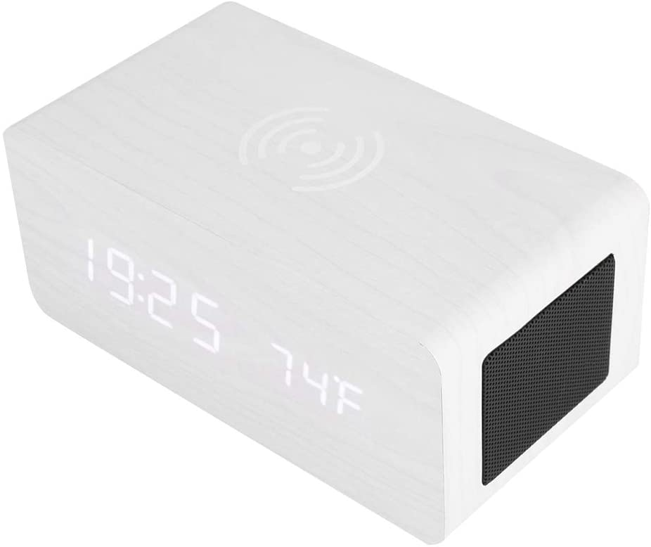 Multi-Function Stereo Bluetooth Speaker with Qi Charging, LED Mirror Clock, Sound Control, 4 AAA Batteries(not Included)+Built-in 2000mAh Battery(White)