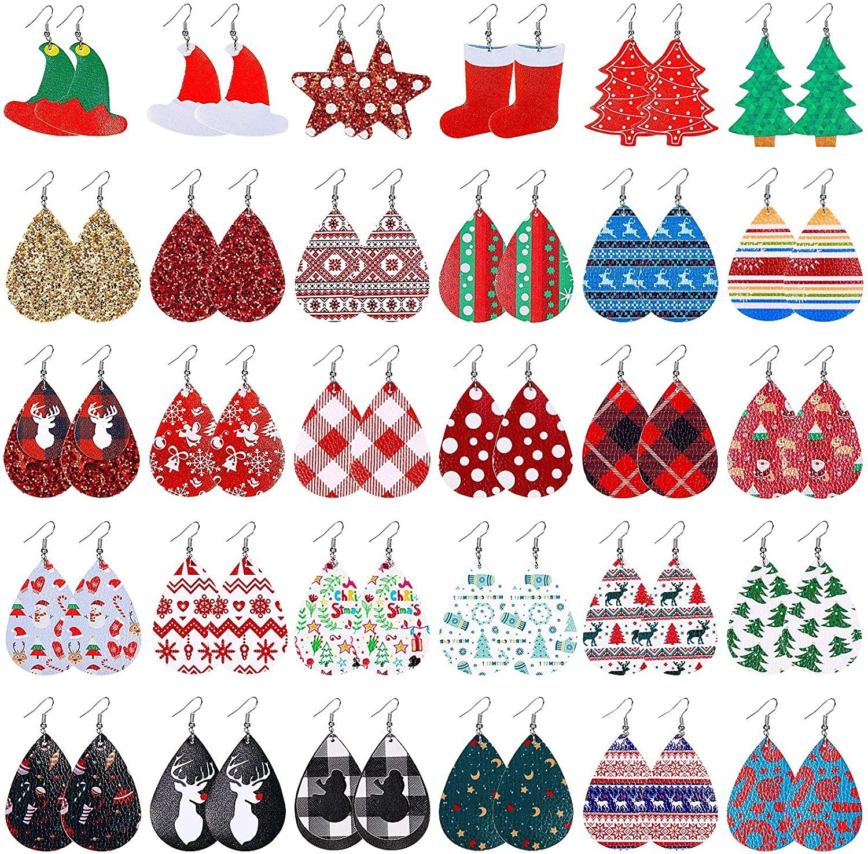30 Pairs Christmas Faux Leather Earrings Teardrop Dangle Earrings Lightweight Leaf Petal Drop Christmas Earrings Xmas Jewelry Accessory for Women Girls