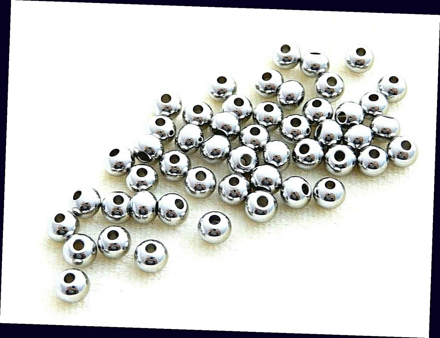 50 Stainless Steel 304 5mm Smooth Seamless Round Silver Spacer Beads for Jewelry Making Bracelets, Necklaces Supplies for DIY Crafts Beadwork