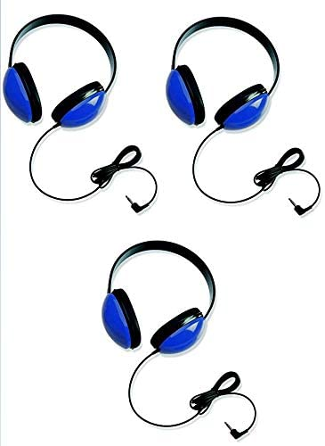 Califone 2800-BL Listening First Stereo Headphones for Kids Bundle (Blue) (3 Items)