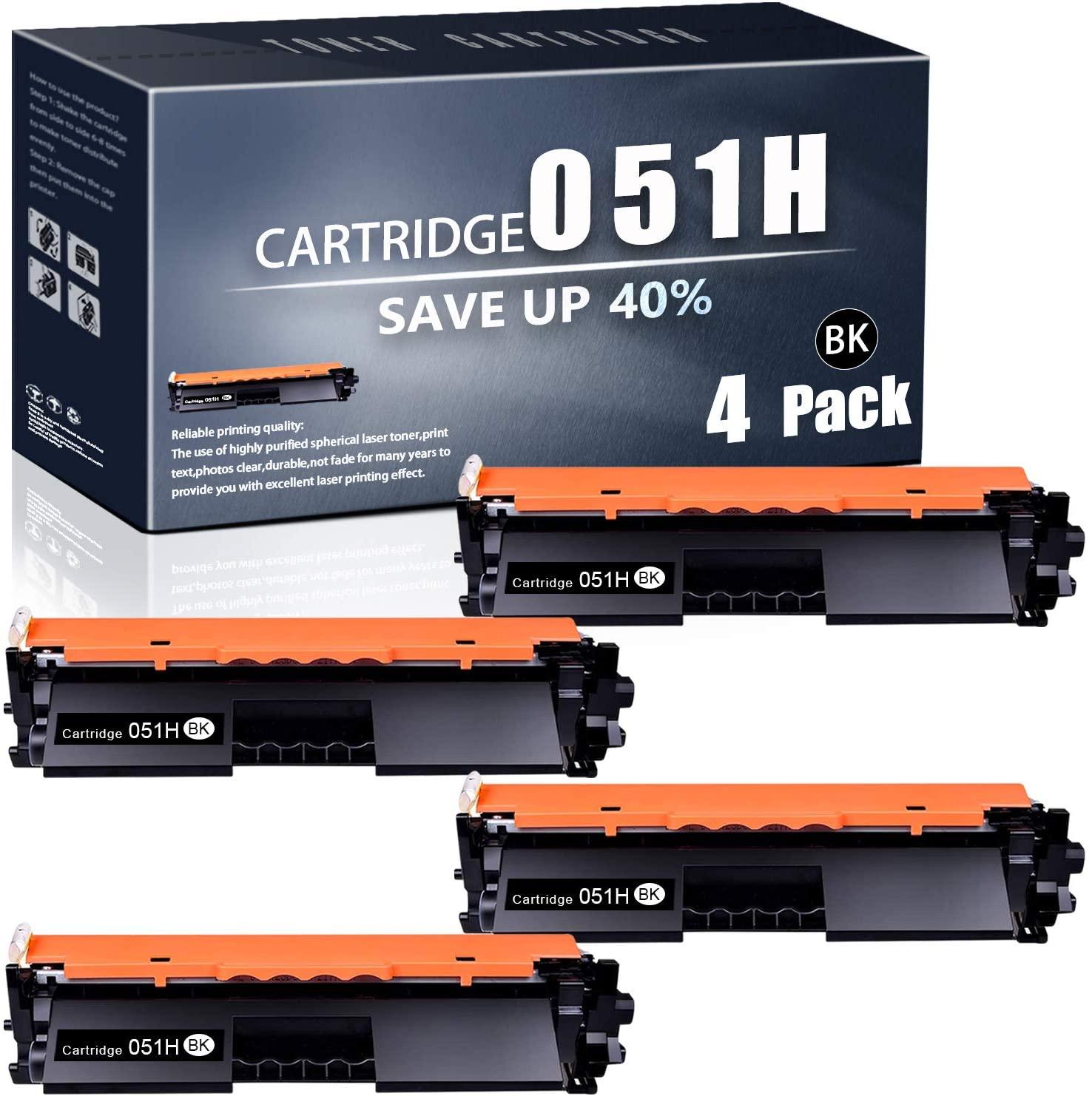 Cartridge 051H Crg-051H(Black,4PK) Compatible TonerCartridge Replacement forCanon ImageCLASS LBP161dw MF263dw MF266dw MF160/LBP160 Series i-SENSYS MF260/LBP260 Series Printers TonerCartridge.