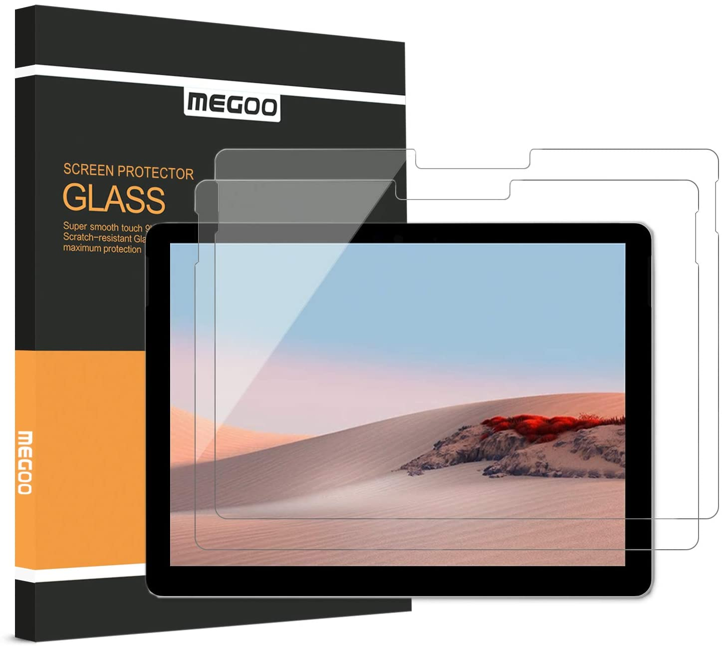 [2 Pack] MEGOO Screen Protector for Surface Go 1/2 (10.5 Inch), Tempered Glass/Easy Installation/High Sensitive/Full Protection, Designed for Microsoft Surface Go Gen 1 (2018) & Gen 2 (2020)