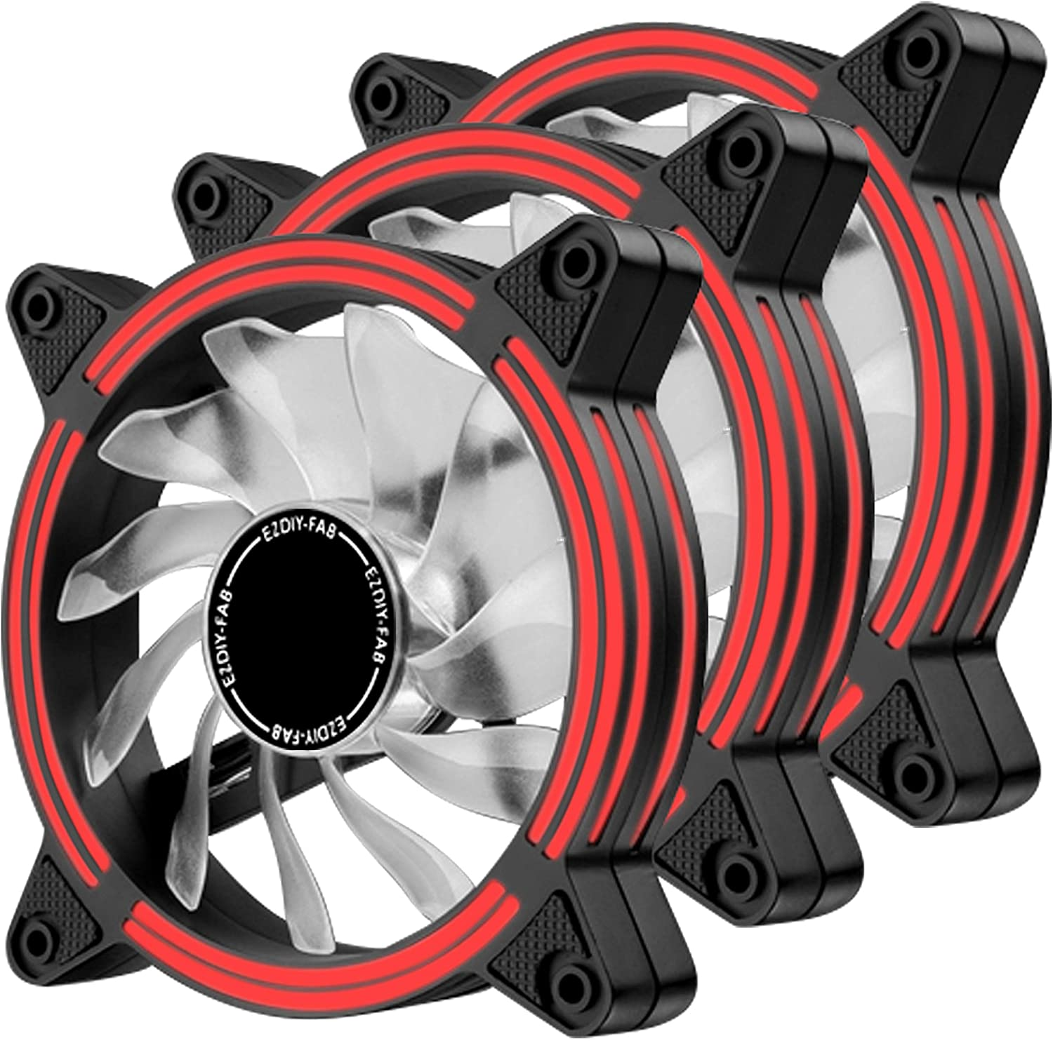 EZDIY-FAB 120mm Red LED Fan, Dual-Frame LED Case Fan for PC Cases, High Airflow Quiet,CPU Coolers, and Radiators,3-Pin-3-Pack