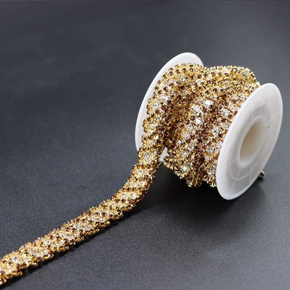 Jerler 1 Yard Crystal Rhinestone Trim Close Chain Applique for Sewing Crafts Ideal Wedding Party DIY Decoration