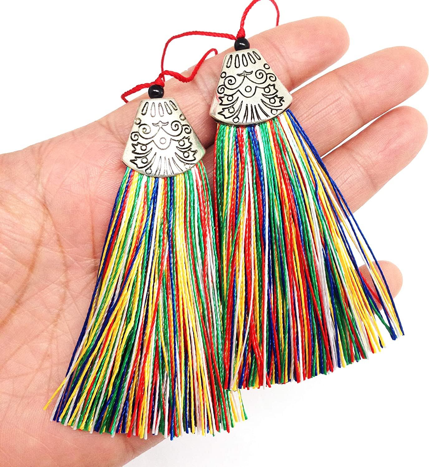 PEPPERLONELY 10PC 3 Inch Silky Handmade Soft Fiber Tassels with Antique Silver Cap, Colorful