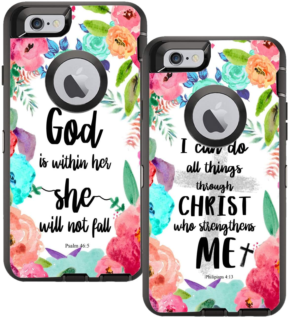 Teleskins Protective Designer Vinyl Skin Decals Compatible with Otterbox Defender iPhone 6 Plus / 6S Plus Case - I can do All Things and God is Within Her She Will Not Fall Design [Pack of 2 Skin]