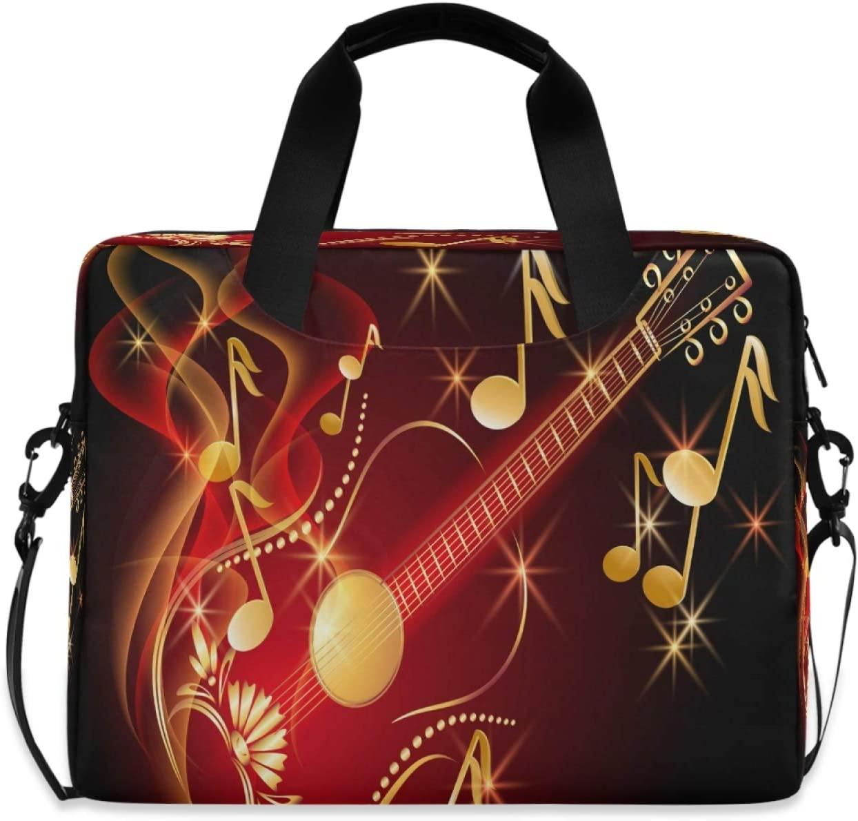Yulife Japanese Guitar Musical Notes Laptop Bag Sleeve Case for Women Men Shiny Music Briefcase Tablet Messenger Shoulder Bag with Strap Notebook Computer Case 14 15.6 16 Inch for Kids Girls Business