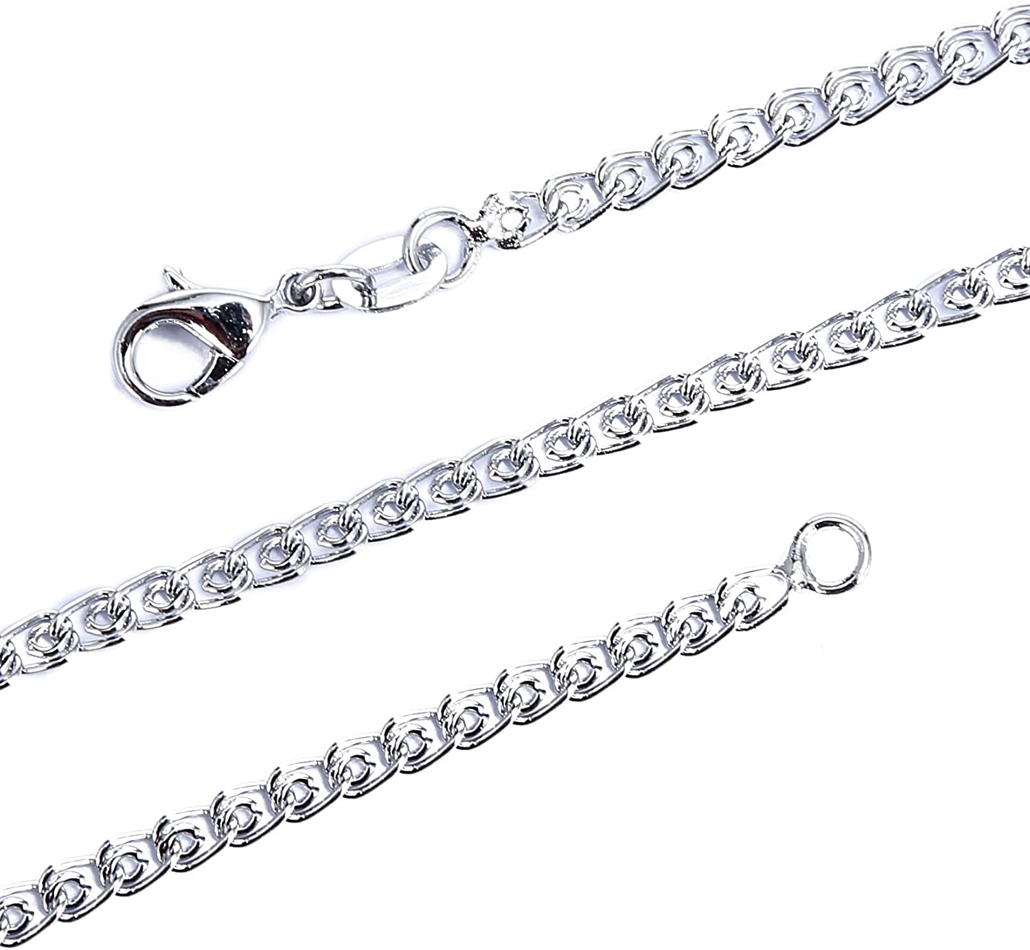 BRCbeads 24 Inches Immitation Rhodium Plated 3.0mm Double Circle Chain Necklace with Lobster Claw Clasp 10pcs per Bag for Jewelry Making