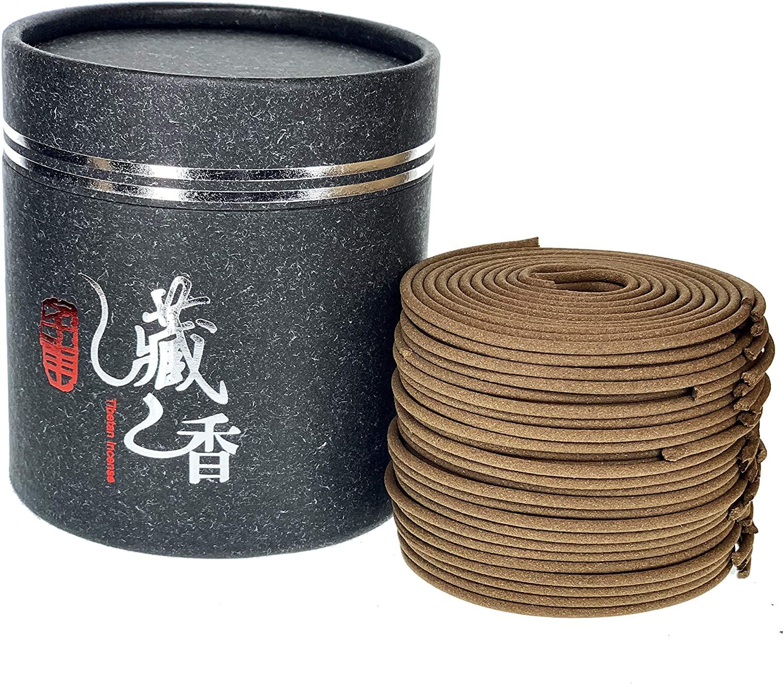 Kingsglen 100% Natural Coil Incense, Indoor Incense 48pcs/Box Sandalwood,Wormwood,Osmanthus,Agarwood ,Tibet Incense Coil 3.5 Hours+Free Coil Holder (Tibet Incense Coil)