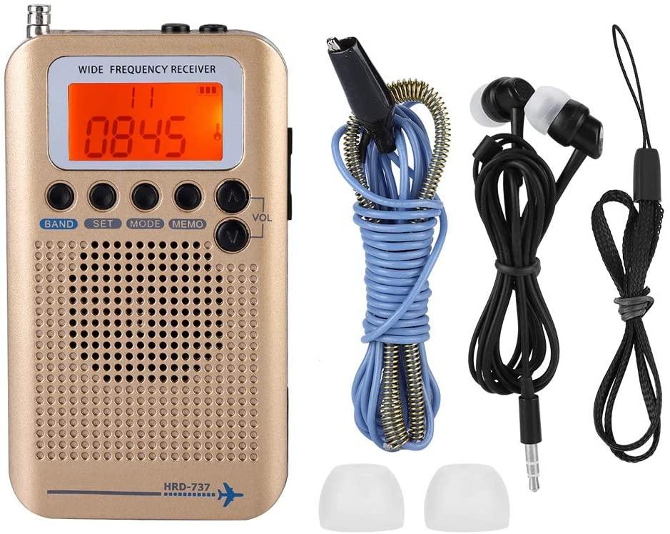 Air Band Radio Receiver, AIR FM AM CB SW VHF Full Band Portable Travel Radio Aircraft Band Radio Receiver (Gold)