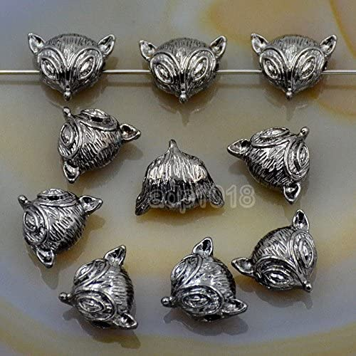 Solid 10 Pcs Metal Dumbbell, Crown, Anchor, Fox, Owl, Skull, Lion, Dragon Bracelet Connector Spacer Charm Beads (Gunmetal, Fox (11x13mm))