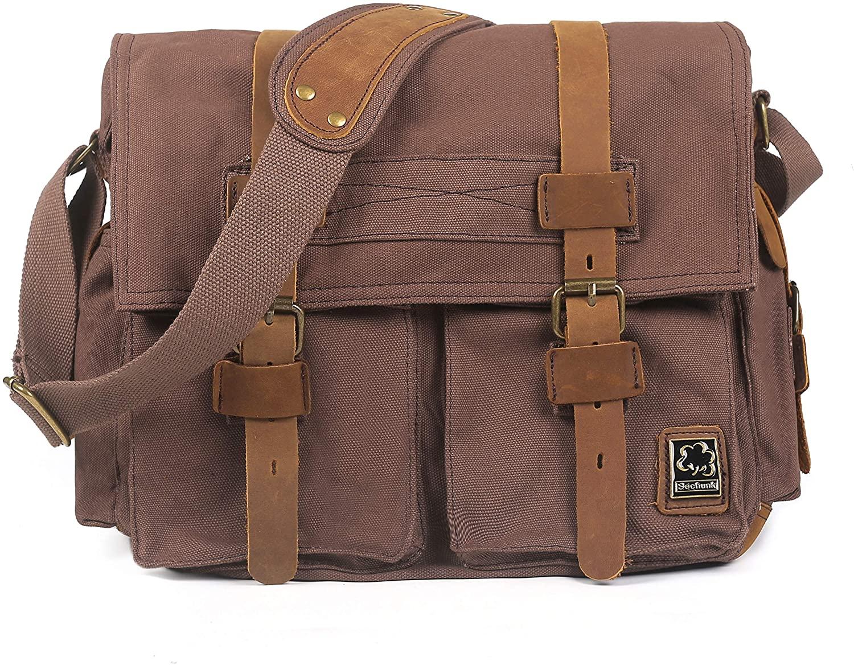 Zuzin Classic Canvas Messenger Bags Retro Crossbody Bags Canvas Satchel Messenger Shoulder Bag Vintage Satchel Bags for Men and Women