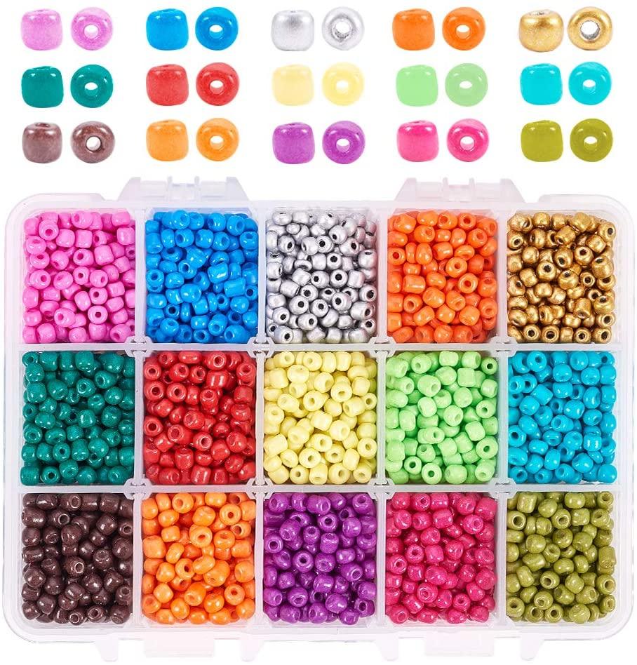 PH PandaHall 6/0 4mm Seed Beads, 3300pcs 15 Color Baking Paint Glass Seed Beads Waist Belly Seed Beads for DIY Bracelet Necklaces Beaded Wrap Bracelet, Belly Chains, Hawaii Bikini Jewelry