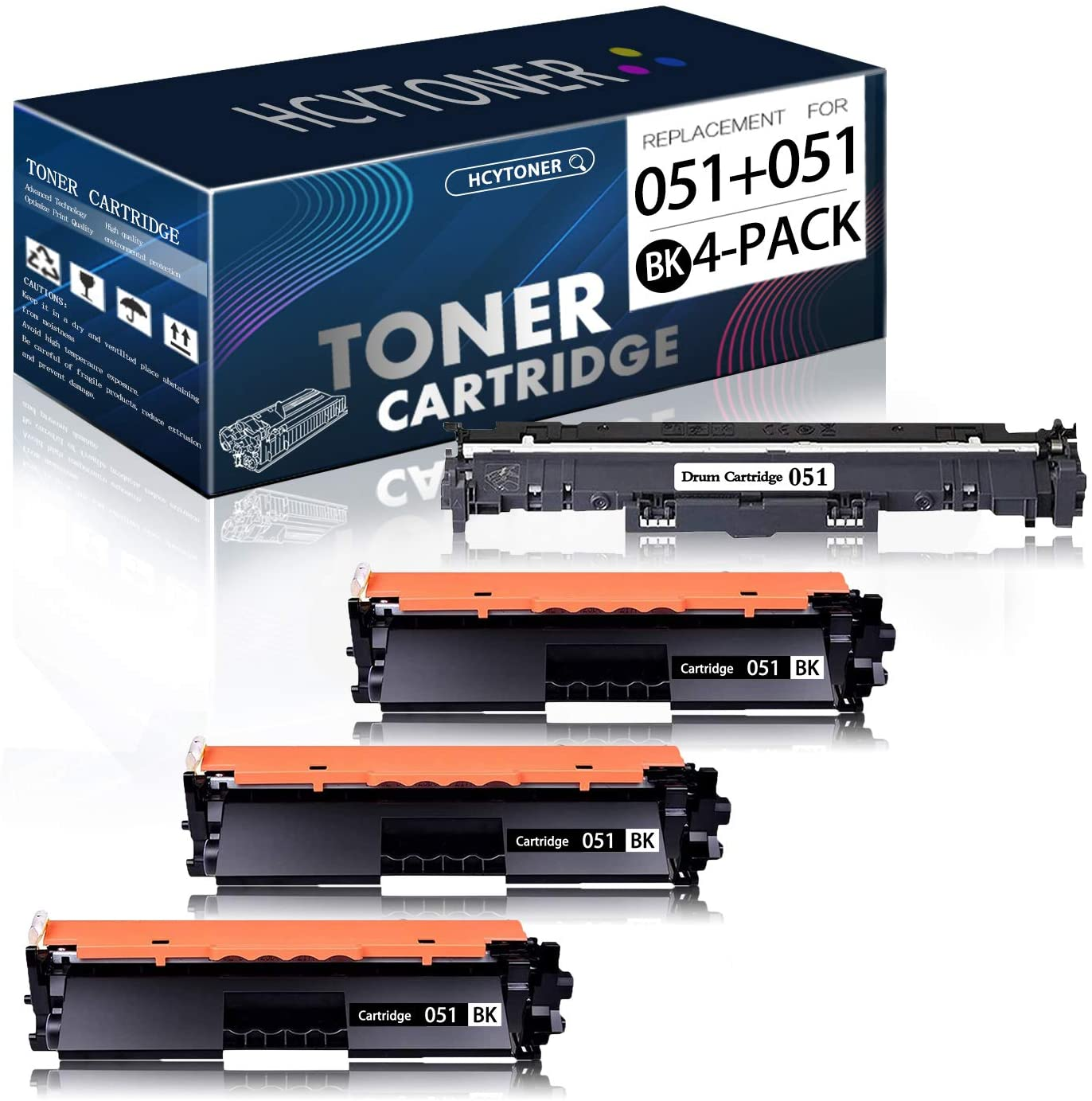 4-Pack Black Compatible (3 Pack 051 Toner Cartridge and 1 Pack 051 Drum Unit) Replacement for Canon ImageCLASS LBP161dw LBP162dw MF263dw MF264dw MF266dw MF267dw MF160/LBP160 Series Printer