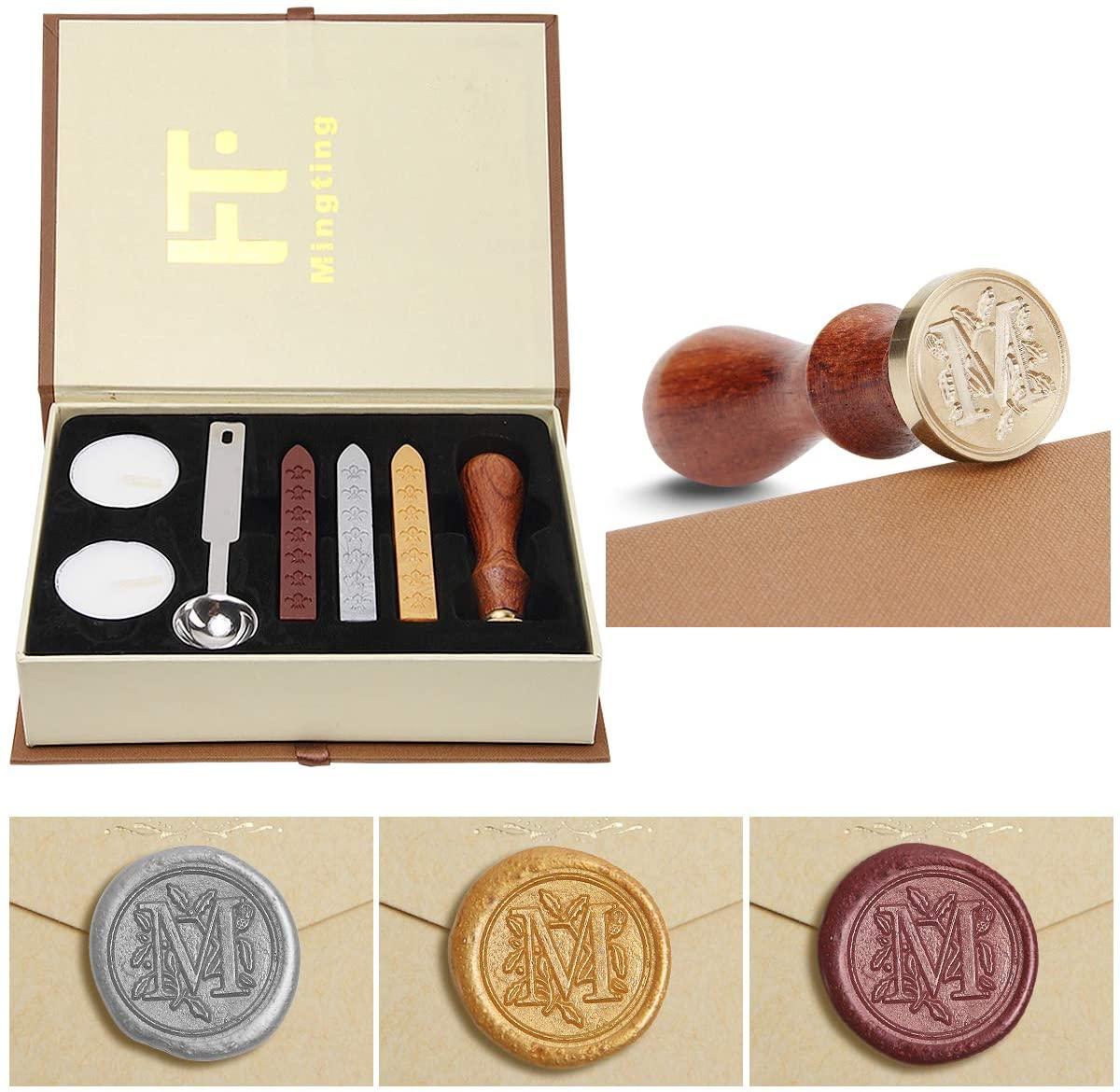 Wax Seal Stamp Kit,Mingting Vintage Wax Stamp Seal Kit Initial Letters Alphabet (M)