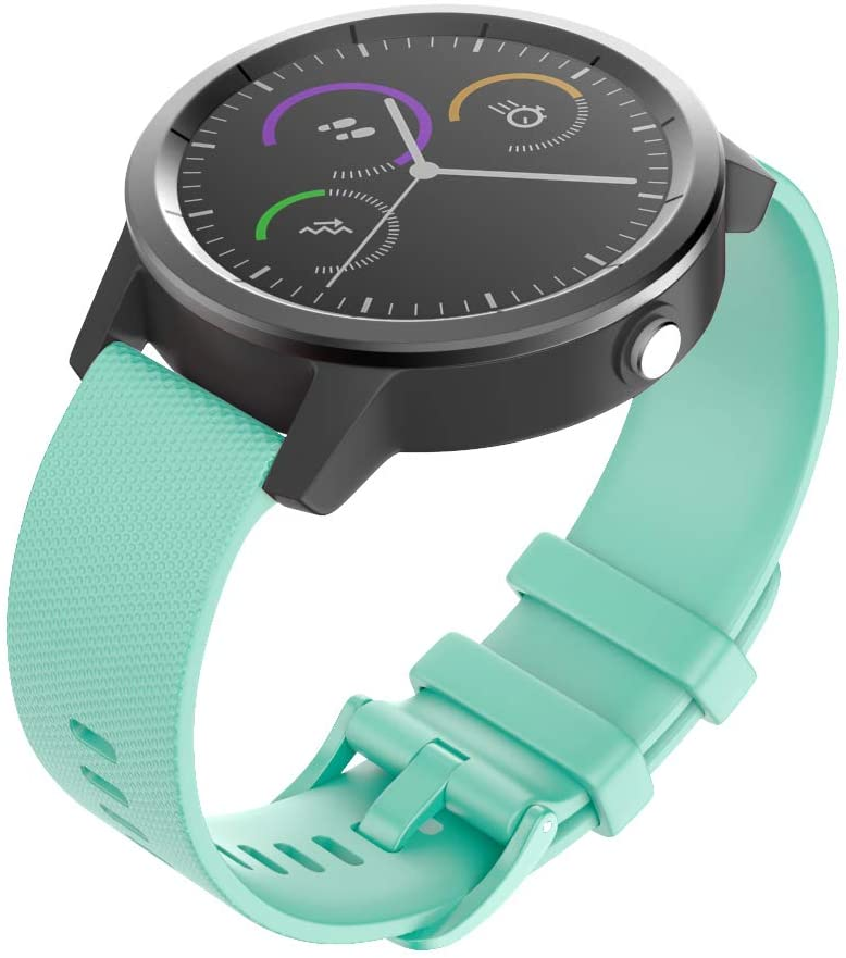 IMAYCC Vivoactive 3 Watch Strap, 20mm Soft Silicone Band Replacement , Breathable Sport Wristband for Garmin Venu / Forerunner 245/645 Music/ Vivomove HR , Waterproof, Quick release-Teal