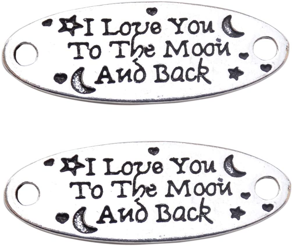 Yansanido Pack of 10 Alloy Silver ''I Love You to The Moon and Back'' DIY Antique Message Charms Pendant for Making Bracelet and Necklace (A222-I Love You to The Moon and Back)