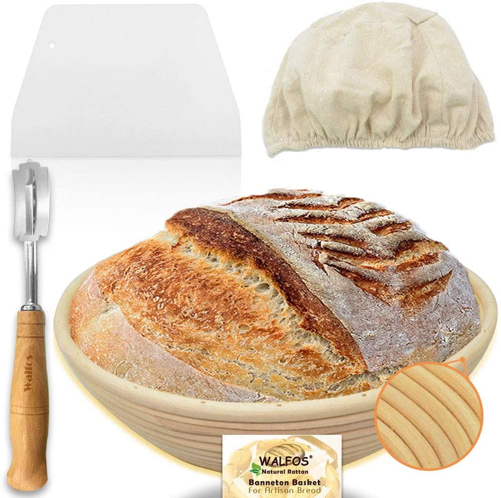 Walfos 9 inch Round Banneton Proofing Basket Set - French Style Sourdough Bread Basket, 100% Natural Rattan - Hand Crafted Bread Lame, Dough Scraper & Linen Cloth Liner Included, Professional Bakers