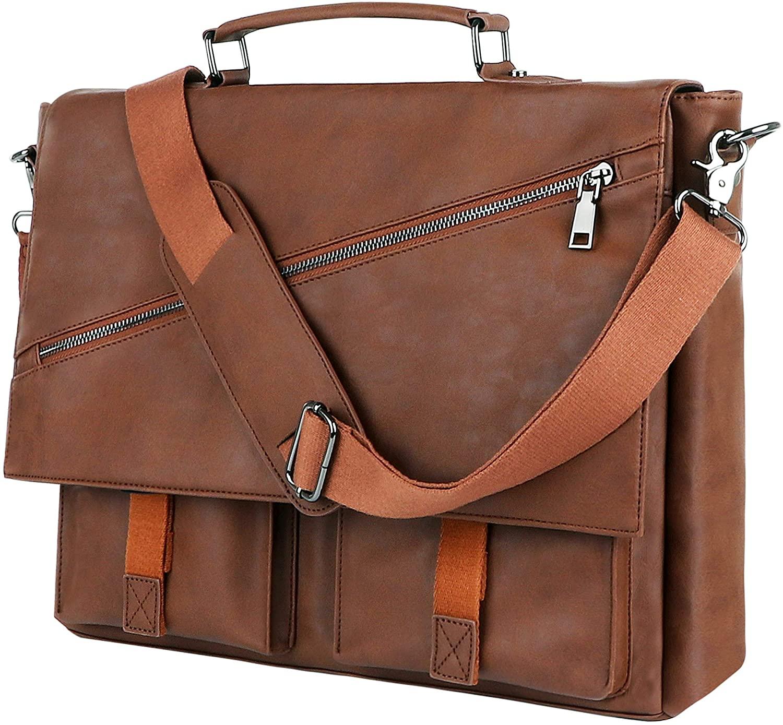 Leather Messenger Bag for Men, 14 15.6 17.3 Inch Vintage Leather Laptop Bag Briefcase Satchel,Large School Work Bag (Brown-15.6inch)