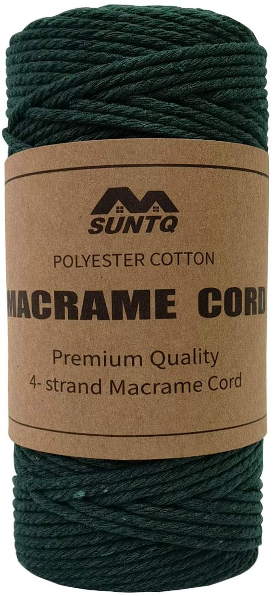SUNTQ Macrame Cord 4-Strand Twisted (3mmx109yard) Soft Unstained Cotton Rope for Handmade Plant Hanger, Wall Hanging Craft Making, Crafts, Knitting,Decorative Projects Dark Green Color Cotton String