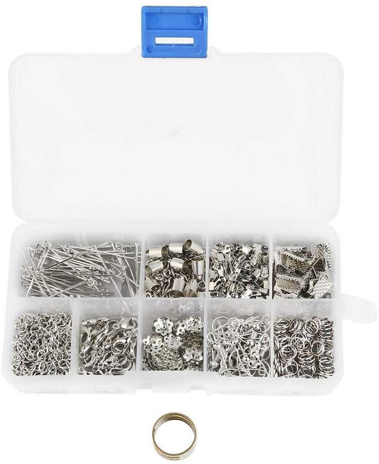 Tool1Box Jewelry Findings Set Earing Hooks Jump Rings Connectors Bulk Tool Jewelry Making Kit for DIY Craft Necklace Pendant Earring Bracelet Chain Accessories Jewelry Making Findings (Silver)