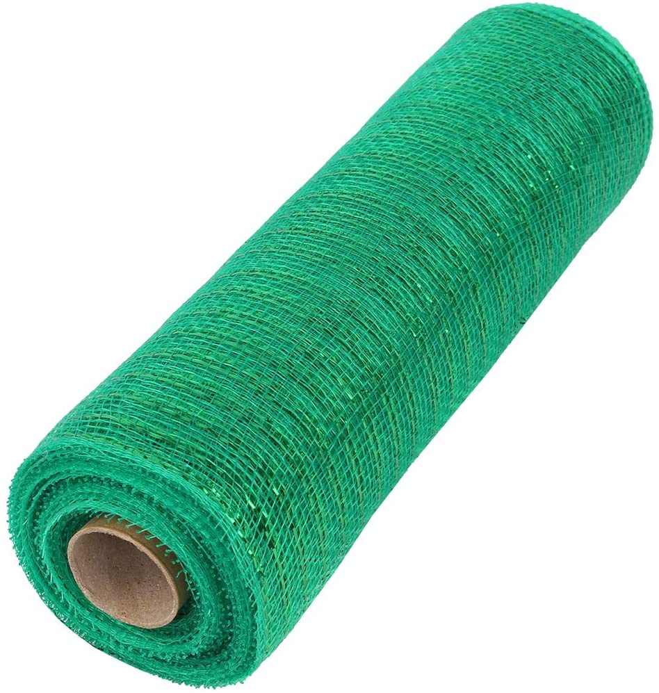 ITIsparkle 10 Inch x 10Yds Deco Poly Mesh Ribbon - Green with Green Metallic Foil