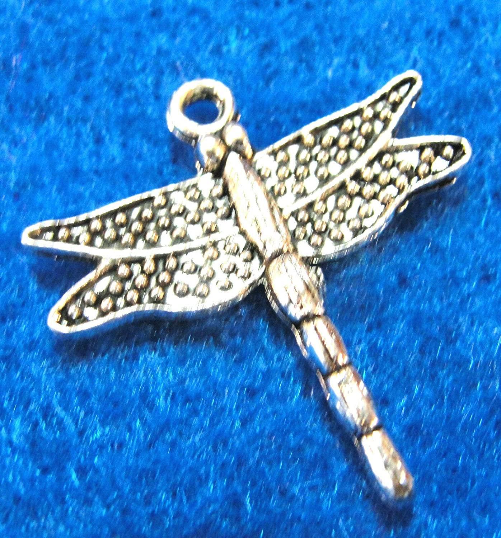Charms Pendants - Jewelry Making DIY - Bracelet 10Pcs. Tibetan Silver Dragonfly Bug Drops Jewelry Finding IN31
