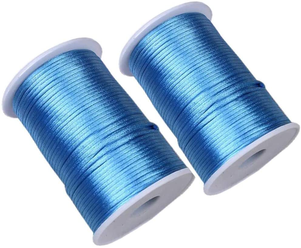 2.5mm x 218 Yards(2 Pack) SkyBlue Satin Nylon Trim Cord Rattail Trim Thread Cord Rattail Sain Cord for Necklace Bracelet Cord and Shoeslaces