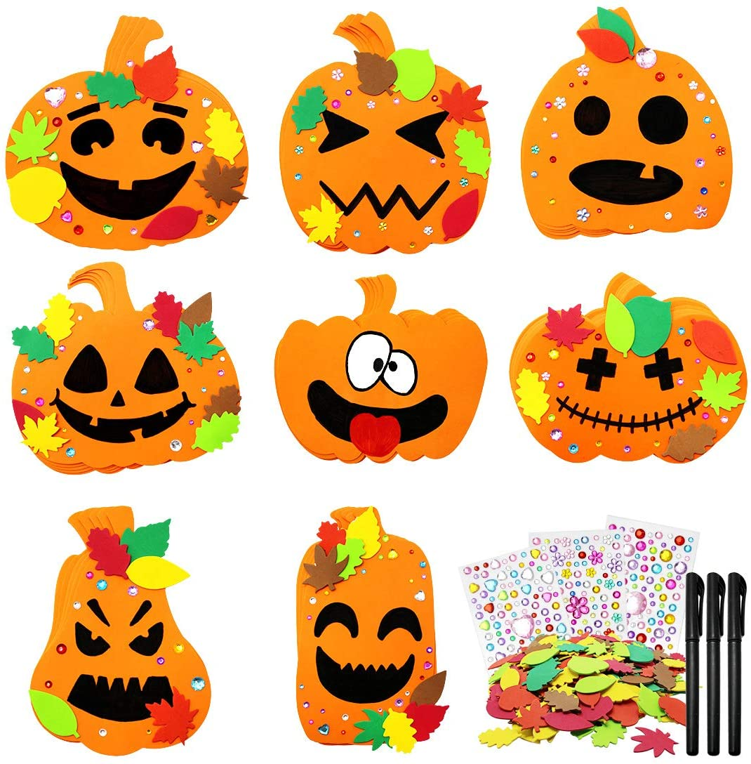 40Pcs Halloween Foam Pumpkin Craft Kit Decorations with Foam Fall Maple Leaves Rhinestone Stickers and Black Gel Pens for Halloween Thanksgiving Kids Art Crafts Decorations