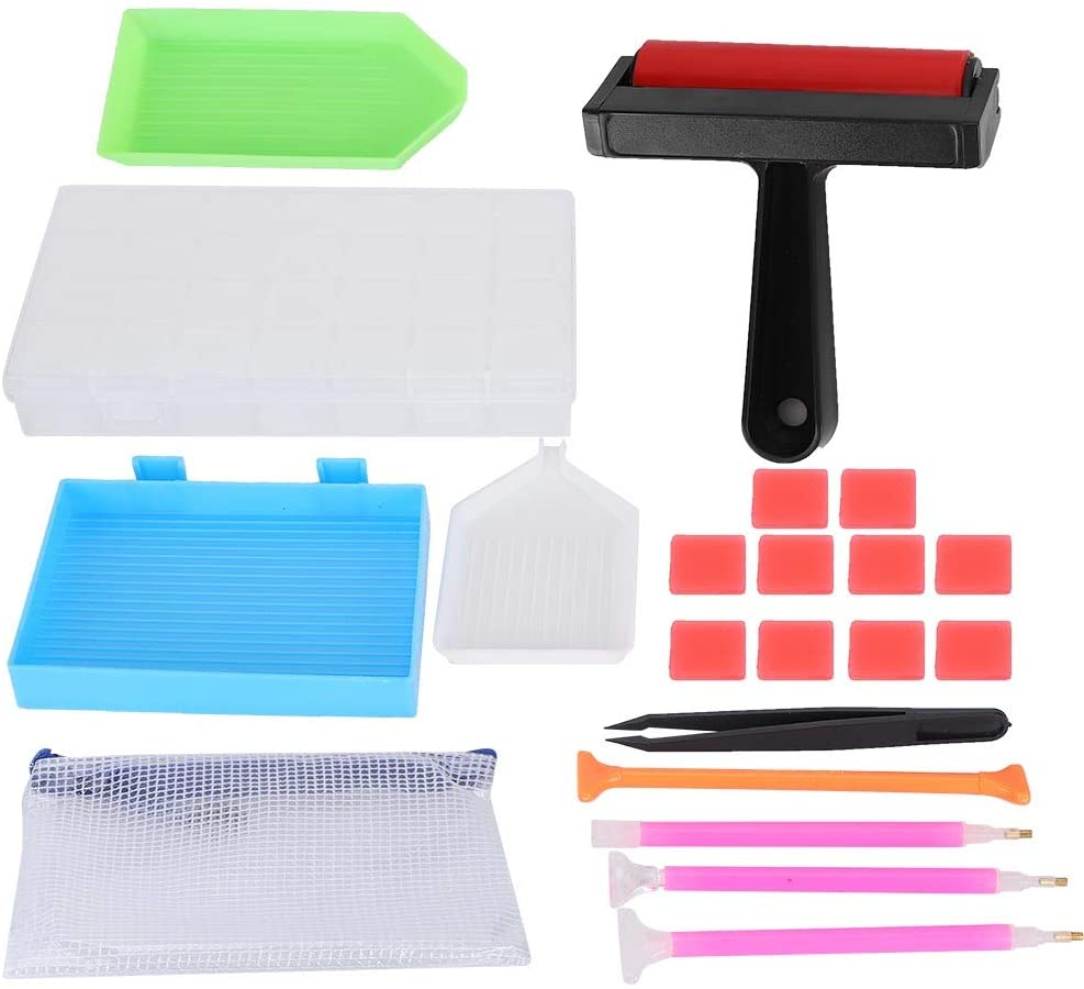Garosa 21pcs 5D Diamond Painting Tools Kit with Diamond Embroidery Accessories and Storage Box for Adults or Kids DIY Craft Art Supplies