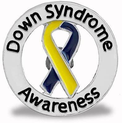 Down Syndrome Awareness Blue & Yellow Awareness Round Ribbon Pins (5 Pins)