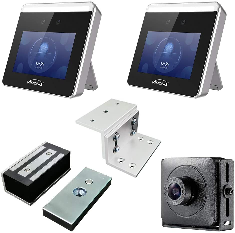 Visionis FPC-8566 Two Access Control Face Recognition + Time Attendance + WiFi + Inswing Door 140lbs Maglock + Entry Exit + Face Enroller + Remotely Open by App Android + Apple + PC Software