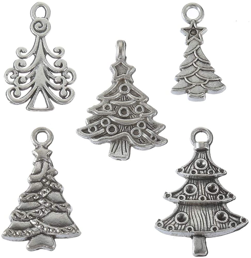 70pcs Mixed Style Antique Silver Christmas Tree Charms Plant Charm Pendant Bracelets Necklace Jewelry Findings Jewelry Making Craft DIY (a-1219)