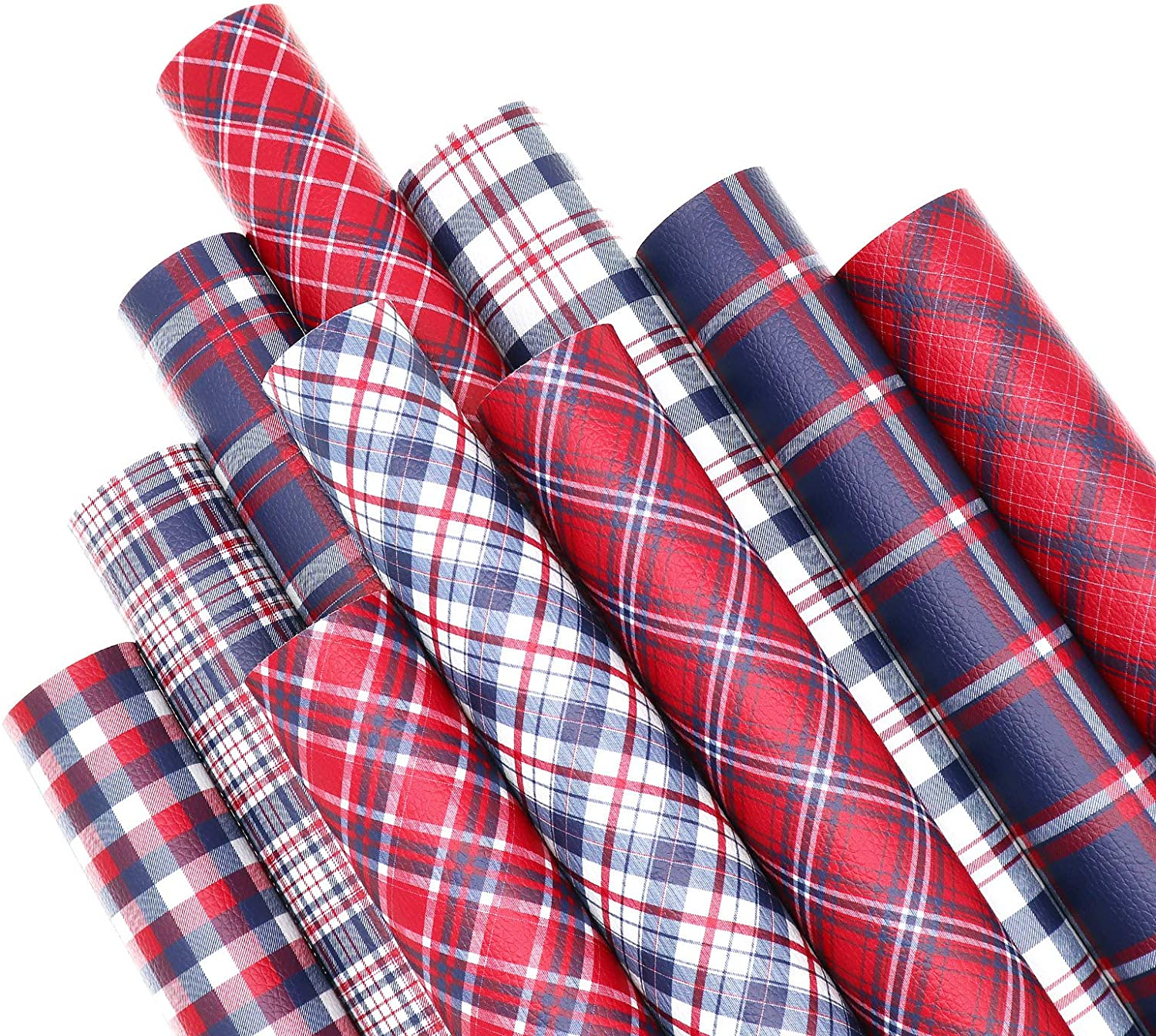 ZAIONE 10PCS/Set Plaid Printed Red Series Faux Leather Sheets Bundle 12inch x 8inch Striped Printed Tartan Checked Synthetic Leather Fabric for Bows & Earring DIY Crafts