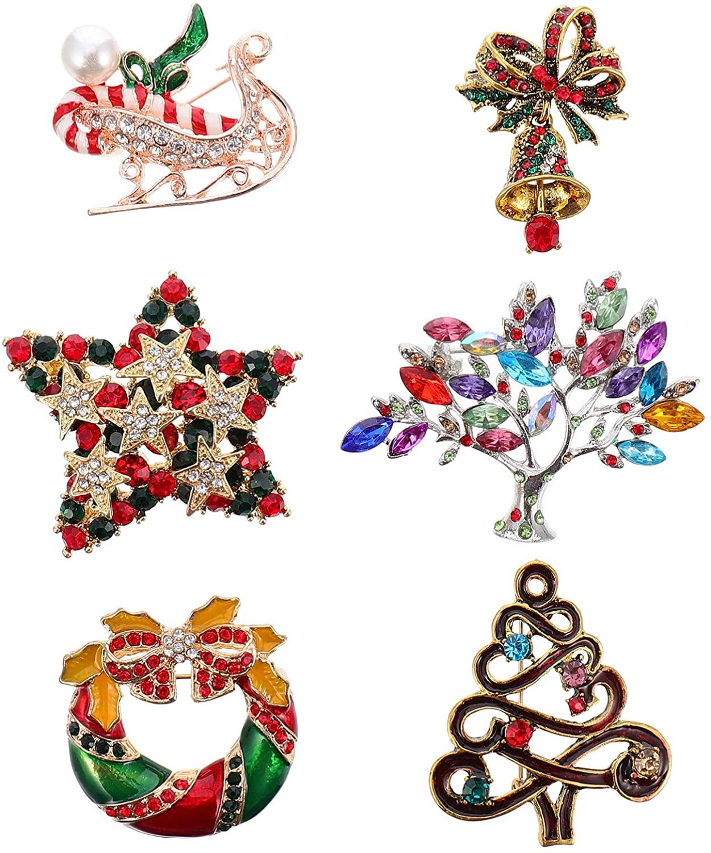 YARDWE 6Pcs Christmas Rhinestone Brooch Pins Star Xmas Tree Wreath Breastpin Corsage Crystal Clothing Badge Brooch for Christmas Gift (Mixed Color)