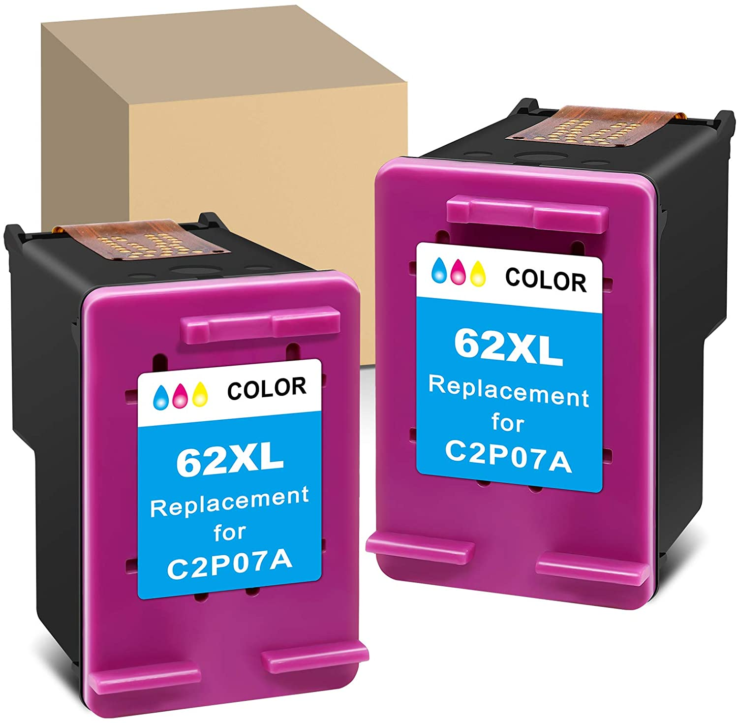 ATOPolyjet Remanufactured 62XL Ink Cartridge Replacement for HP 62 XL Used for Envy 7640 7645 5660 5540 5661 5640 5549 5663 OfficeJet 5740 250 200 5746 5745 Printer (2 Color, 2 Pack)