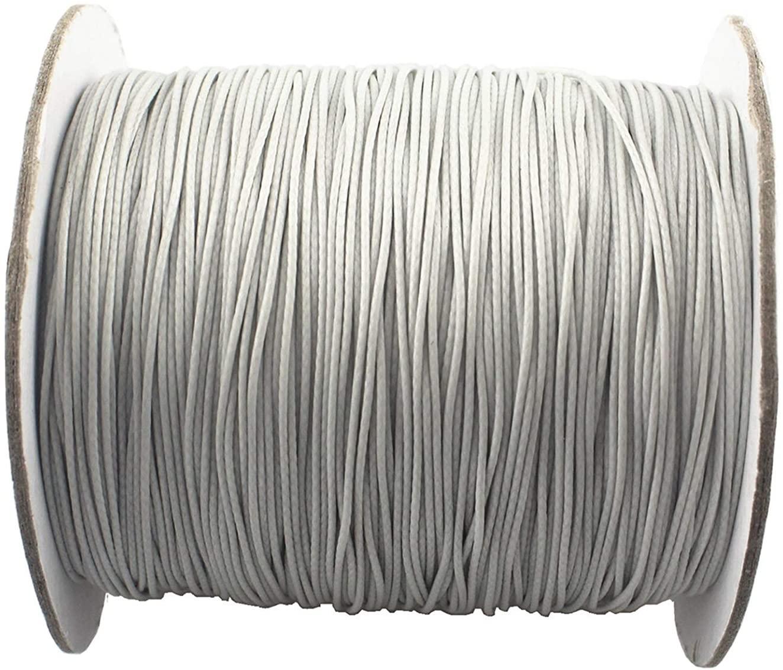 QIANHAILIZZ 150 Yards 0.5 mm Waxed Jewelry Making Cord Waxed Beading String Craft DIY Thread LXX120601805 (Silver)