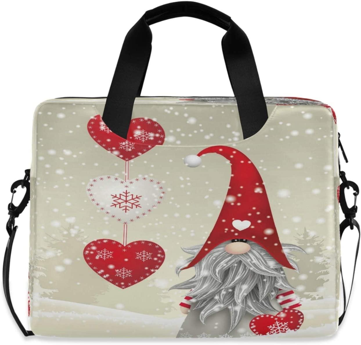 Yulife Christmas Snowman Gnome Laptop Bag Sleeve Case for Women Men Winter Snow Folklore Elve Briefcase Tablet Messenger Shoulder Bag with Strap Notebook Computer Case 14 15.6 16 Inch for Kids Girls
