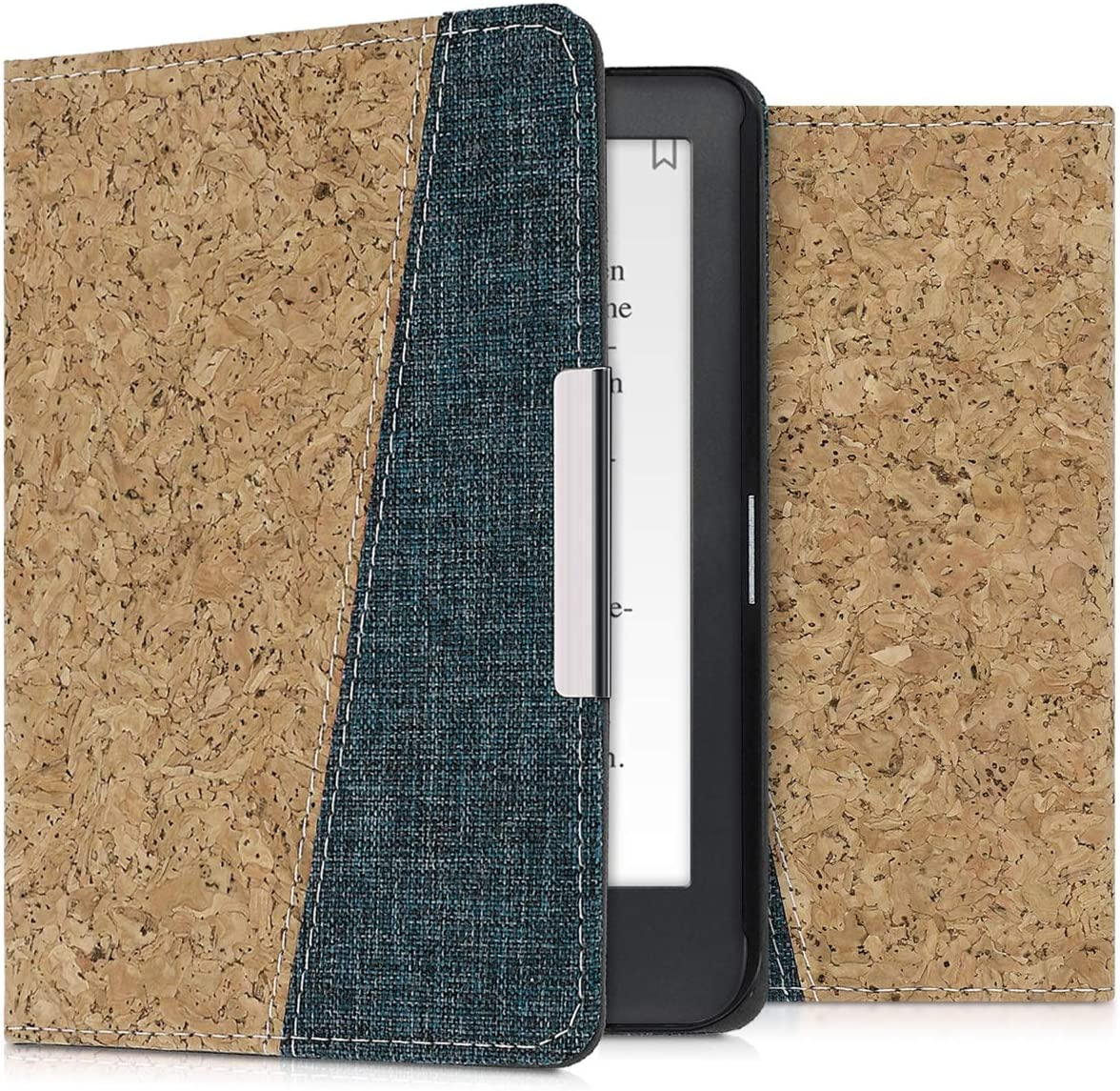 kwmobile Folio Case Compatible with Kobo Clara HD - Cork and Fabric Book Style e-Reader Cover - Light Brown/Blue
