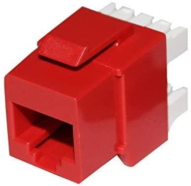 Elite (10 Pack) CAT6 Keystone Jack 8P8C 180 Degree T568A/B in Red