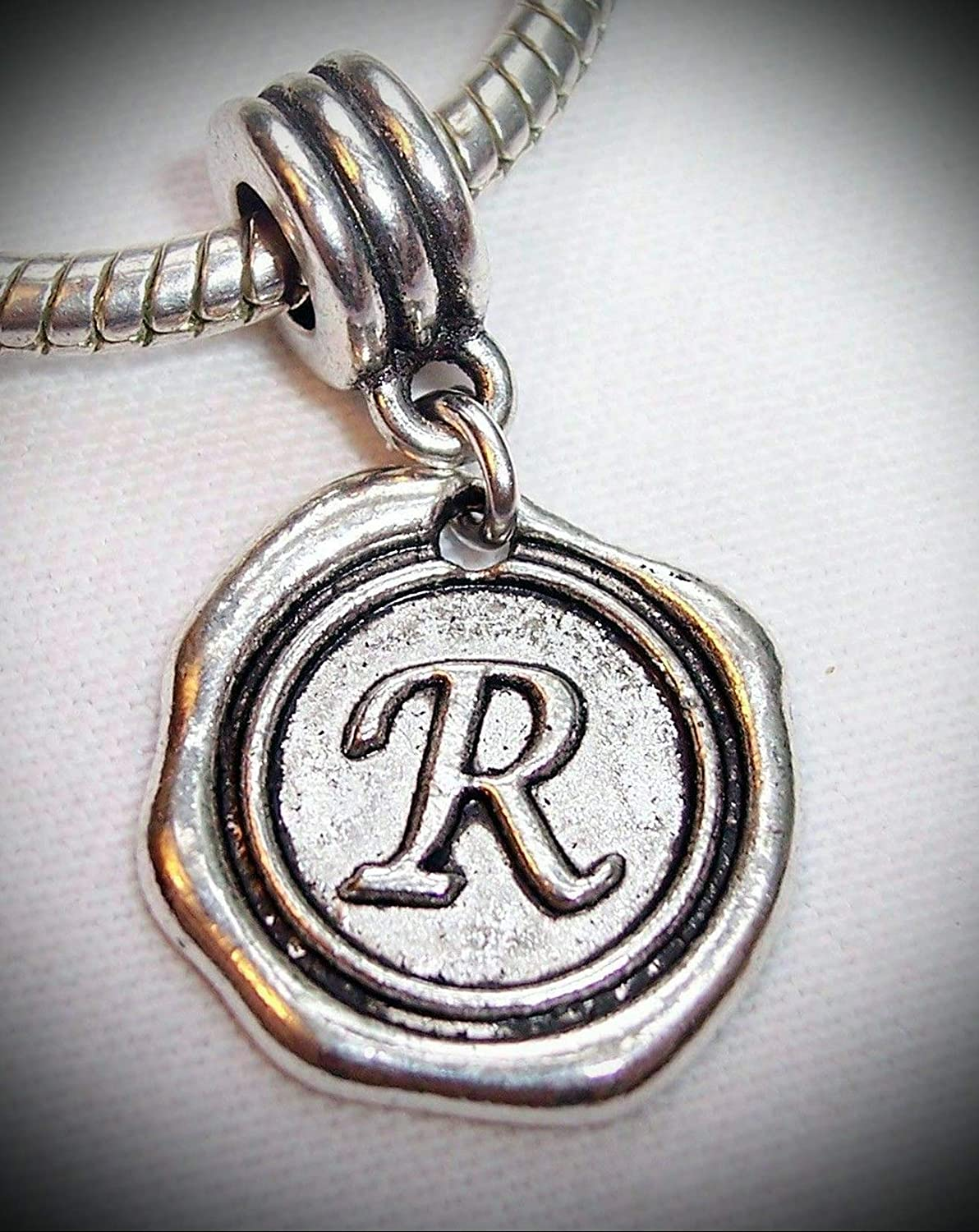 Letter R Alphabet Initial Wax Stamp Dangle Charm for European Slide Bracelets Adorable Charms and More for Your own Designs by CharmingStuffS
