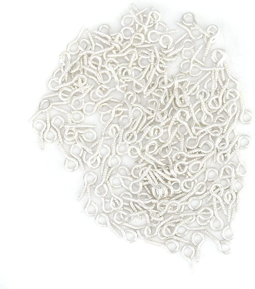 Pack of 200 Mini Eye Pins Hooks Eyelets Screw Hooks Threaded Bails Findings for Jewelry Pendant Making(Silver)
