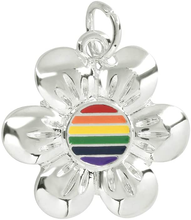 Fundraising For A Cause | Pride Rainbow Flower-Shaped Charms – LGBTQ Jewelry-Making Charms for Bracelets, Necklaces, and Earrings (10 Charms)
