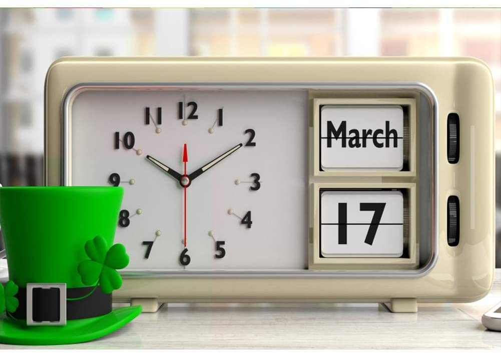 Leyiyi Saint Patricks Day Backdrop 9x6ft Photography Backdrop Lucky Clovers Green Gentle Hat Clock March 17 Parade Celebration Backdrop Photo Booth Props